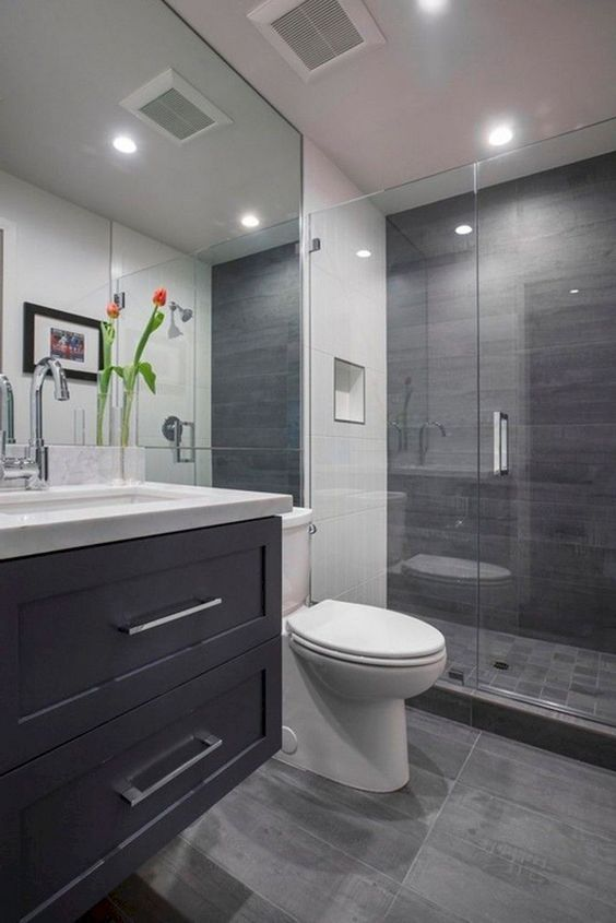 55 Awesome Gray Decorating Ideas For Your Small Bathroom On Budget