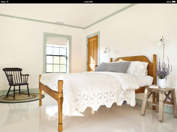 Darker trim, painted wood floors, farmhouse bedroom.