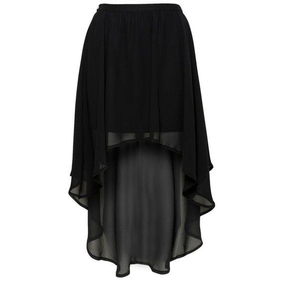 Glamorous Black Dip Hem Skirt ($22) ❤ liked on Polyvore featuring skirts, mini skirts, bottoms, saias, faldas, black, high low skirt, dip hem skirt, mullet skirts and short front long back skirt