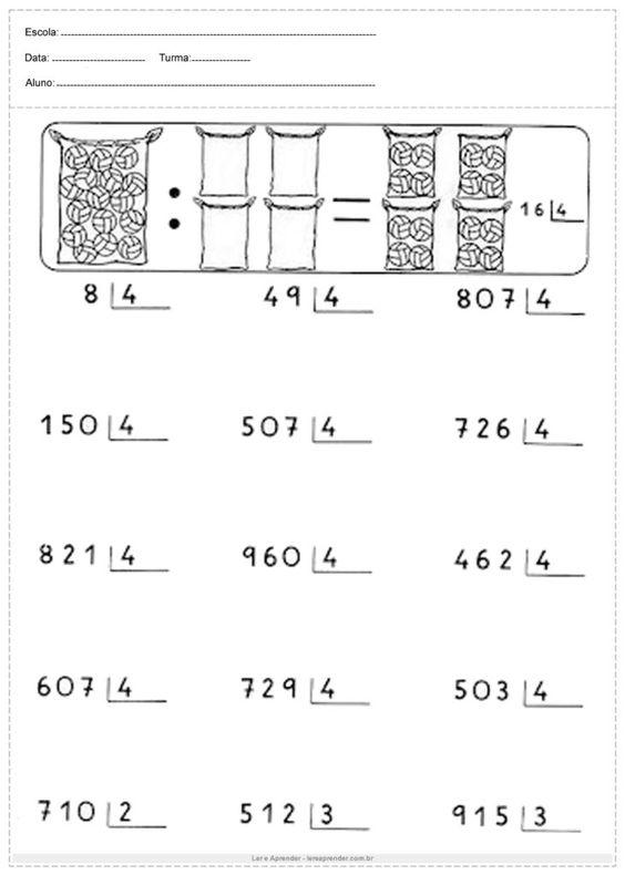 14 -  Atividades de Matemática 4 Ano para Imprimir  - Educação infantil