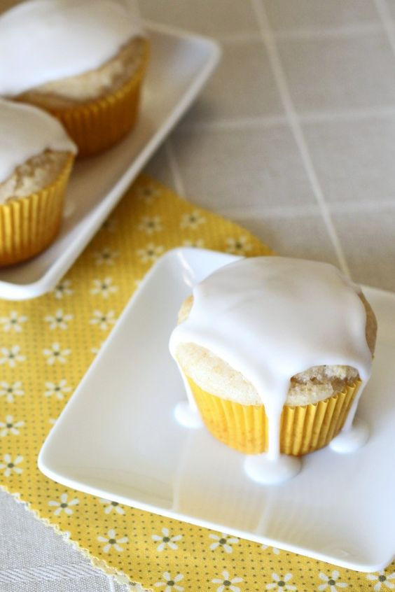 Gluten free, and vegan, glazed lemon muffins