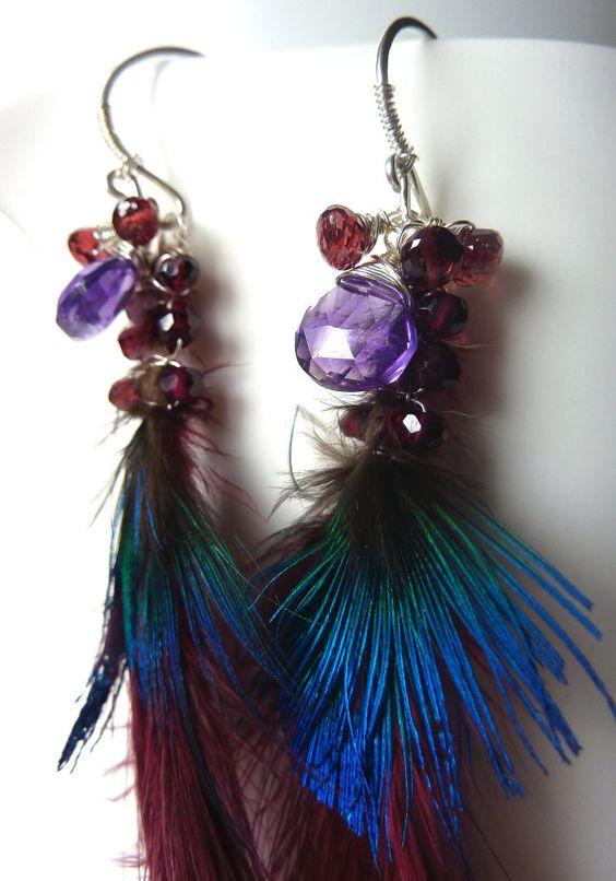 OOAK Amethyst and Garnet Feather Sterling by MelanieMiljan on Etsy, $65.00