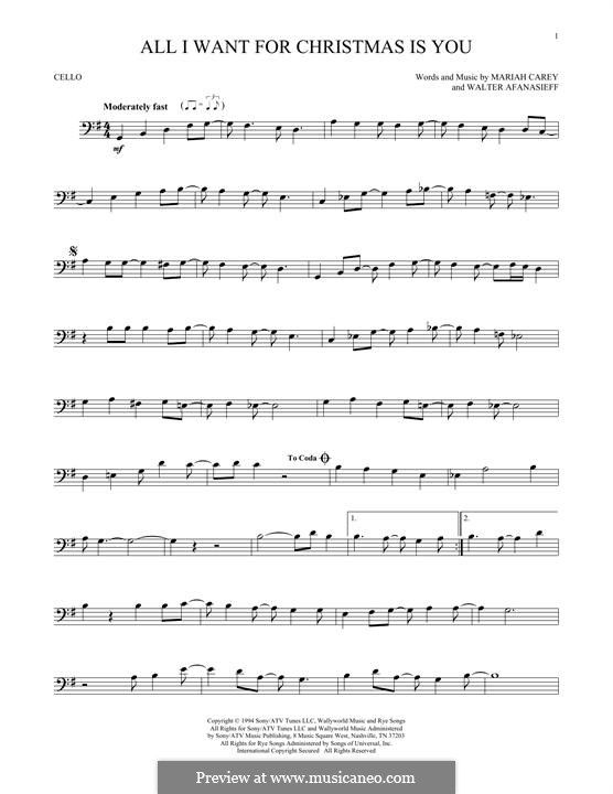 All I Want For Christmas Is You Instrumental Version By M Carey W Afanasieff On Musicaneo In 2020 Cello Sheet Music Trombone Sheet Music Viola Sheet Music