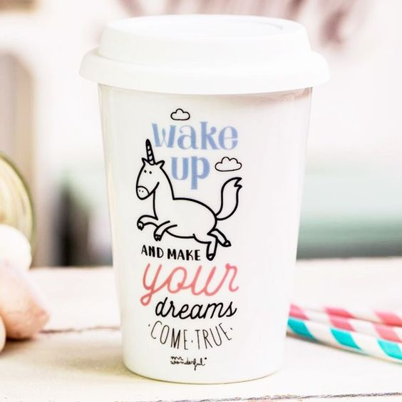 Mug Take Away Licorne Wake Up - Wake Up and make your dream come true, avec notre licorne adorée.