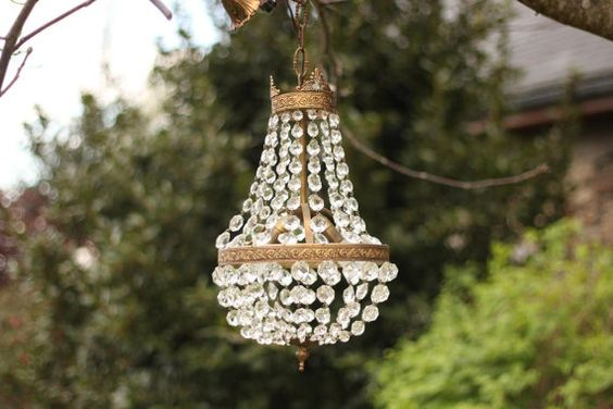 French Vintage Crystal Glass Drop And Gilded Metal Chandelier/Ceiling Light/Lustre Montgolfière/ 2 Bulbs / Époque Vintage
