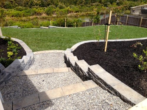... garden beds with a natural rock path & steps leading to a 'no mow