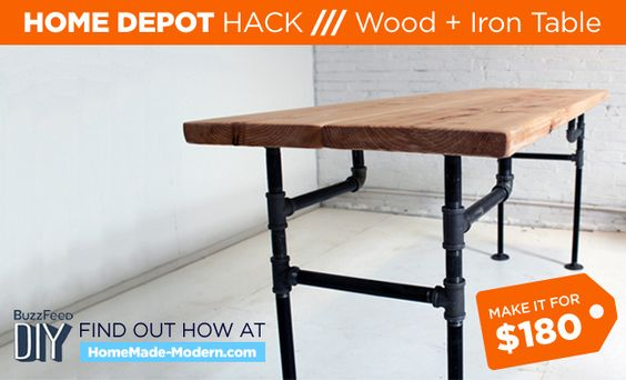 5 home depot hacks industrial kitchen tables and legs for Home depot kitchen table