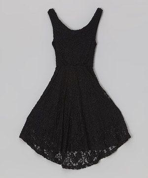 Cheryl&-39-s Kids Creations Black Cross-Back Lace Dress - Girls ...