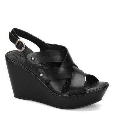 Another great find on #zulily! Black Cataleen Leather Wedge Sandal #zulilyfinds
