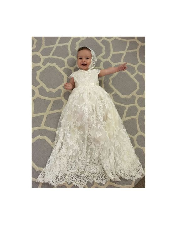 Sierra ivory christening / baptism gown This beautiful christening, baptism, flower girl dress in 100% hand made. It is made to measure so please…