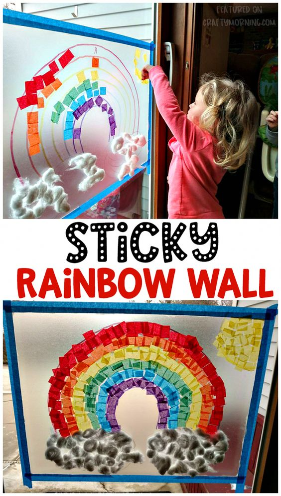 Have the kids decorate a sticky rainbow wall using contact paper! Fun st patricks day or rainy day activities. #preschoolartprojects