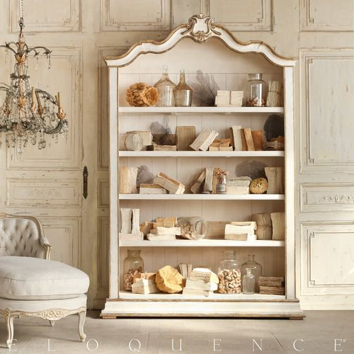 French Inspired Rousseau Bookcase In Gold Gilt and Pale White. Swedish decor inspiration, French and Gustavian Design Style from Eloquence. #swedish #interiordesign #frenchcountry #gustavian #nordic #decoratingideas #whitedecor #eloquence #furniture