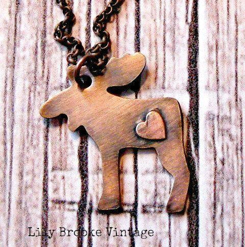 Kupfer rustikal Moose Halskette  ElchSchmuck von lilybrookevintage