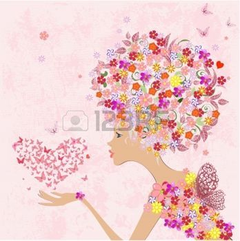 fashion flowers girl with a heart of butterflies photo