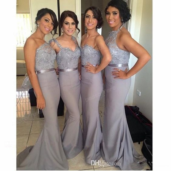 Long Mermaid Bridesmaid Dress Gray with One Shoulder/Double Straps ...