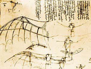 FLYING MACHINES - Leonardo da Vinci, Another Mechanical Wing Device - ca. 1485