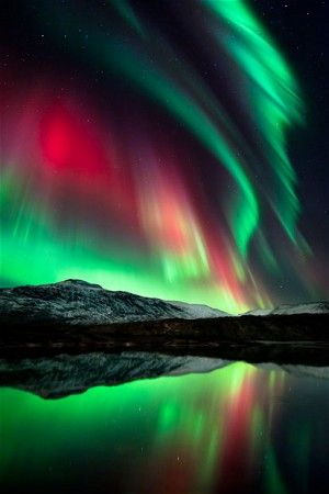 The Northern Lights turn the sky green and red at Mo i Rana