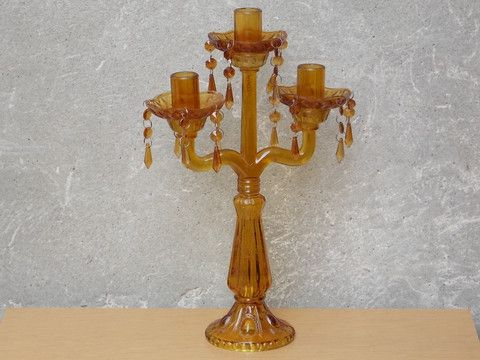 I Like Mike's Mid Century Modern - TALL AMBER GLASS CHANDELIER TABLE CANDELABRA