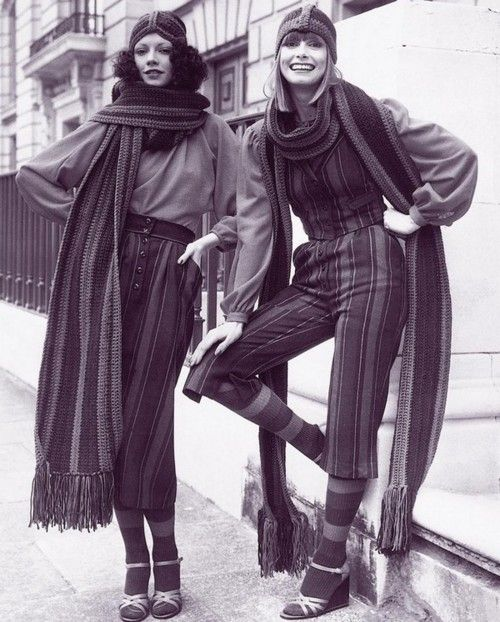 Both of these outfits are amazing. 1970s. huge scarves and knit headband hats inspired by the early 1910s
