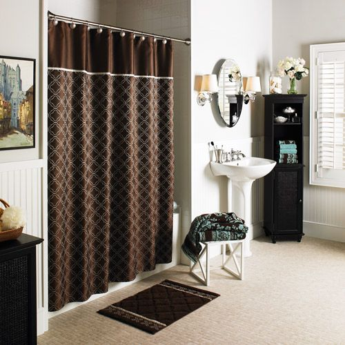 quatrefoilshowercurtain Better Homes and Gardens Brown