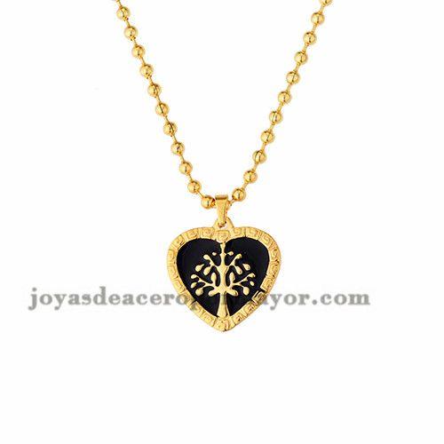 collar de corazon con arbol de dorado en acero-SSNEG272797