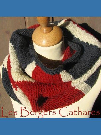 modele tricot echarpe drapeau anglais