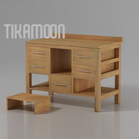 waschbeckenschrank waschtisch waschbecken unterschrank massiv holz teak bad neu. Black Bedroom Furniture Sets. Home Design Ideas
