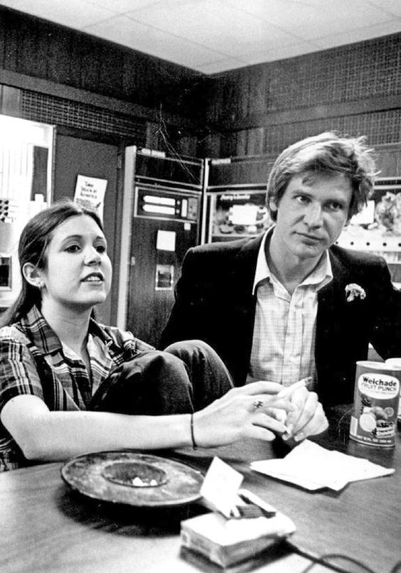 Carrie Fisher and Harrison Ford.: