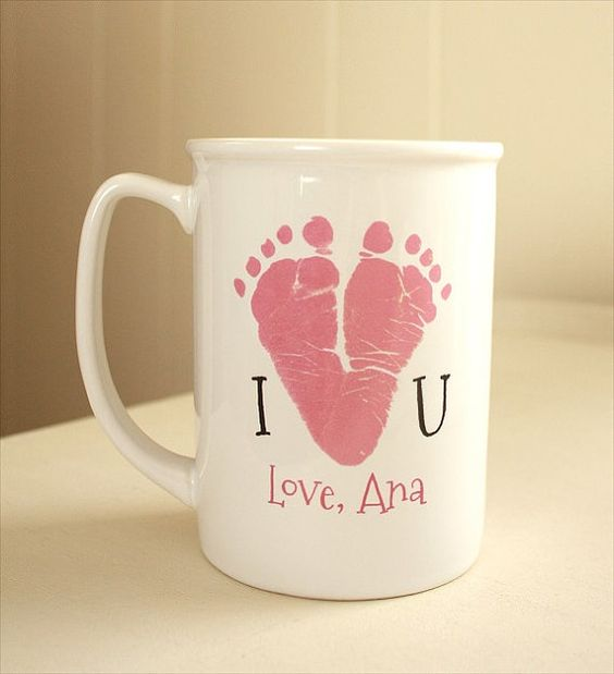 Your child's actual prints on a mug with special message. Heart, Mother's Day, Father's Day, Grandma,Grandpa, hand and footprint art