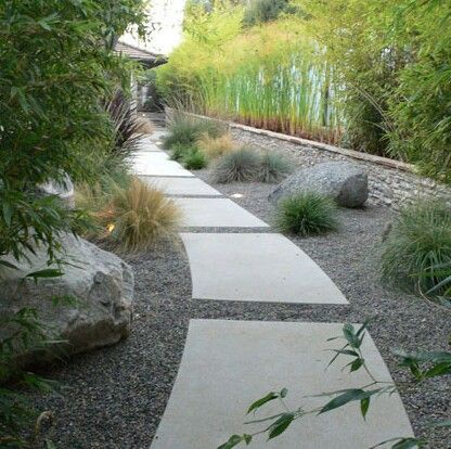 Large concrete paver path down the garden path for Cement garden paths