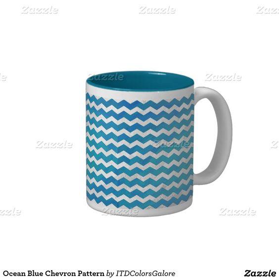 Ocean Blue Chevron Pattern Two-Tone Coffee Mug