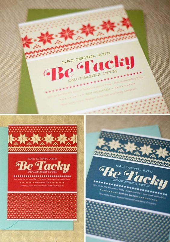 Art Not-too-Tacky Christmas Sweater Invitation invitations-cards