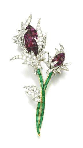 Ruby, emerald and diamond brooch.: