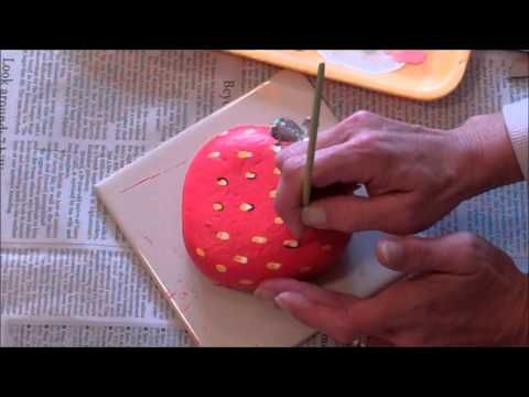 How 2 Paint A Rock Into A Juicy Strawberry - YouTube