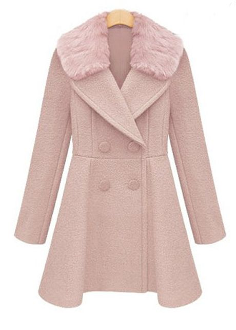 Stylish Double Breasted Trench Coat With Fur Collar - Pink on Luulla