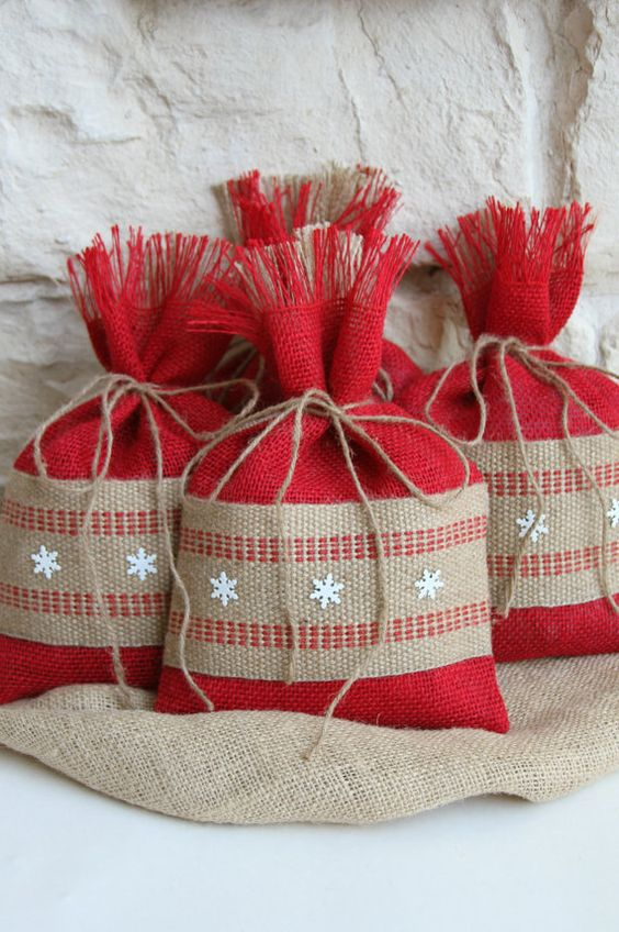 Burlap Gift Bags Set of FOUR Shabby Chic Christmas by FourRDesigns