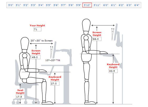 Desk height for someone 5ft 10 inches tall Library Design