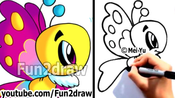 How to Draw Cartoons Easy - Learn to Draw a Cartoon Butterfly Step by St...