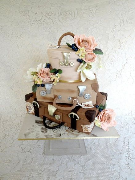 Floral Travels Cake by FireflyIndia Pretty travel themed wedding cake