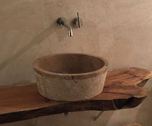 Brushed Natural Stone Vessel Sink Afyon Noce Travertine With