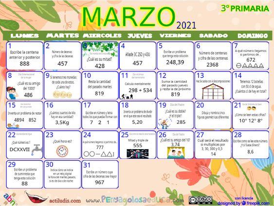 Calendario Tercero ABN – Marzo 2021