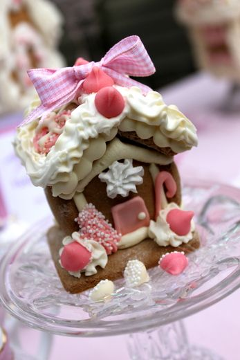 "Holiday ""Pink Gingerbread House Tea Party"" ~ On the Menu: Hot Cranberry Tea, Cheese Scones, Pink Meringues, Almond Tarts, & of course, Gingerbread / Catch My Party"