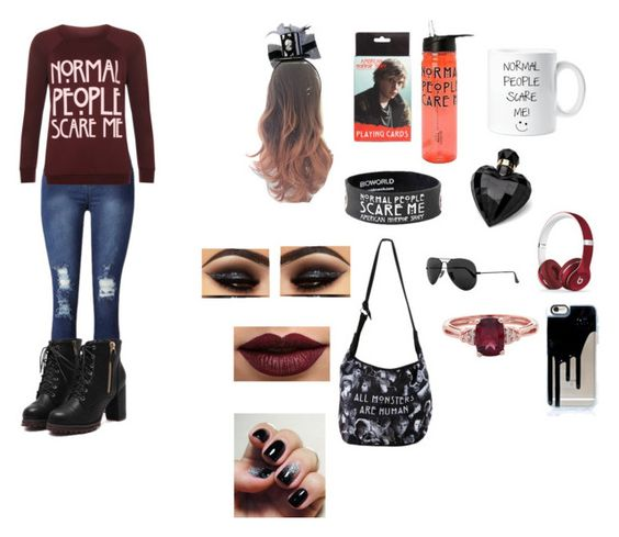 """American Horror Story"" by writergirlbvb1djb on Polyvore featuring WearAll, Lipsy, LASplash, Beats by Dr. Dre and Ray-Ban"