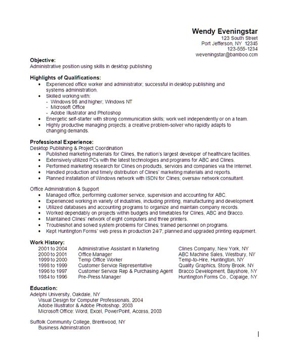 Administrative Desktop Publishing Resume Sample - http - resume customer service representative