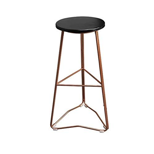 Yyy Nordic Solid Wood Bar Chair Wrought Iron Bar Stool Gold