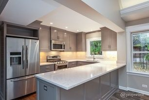 Traditional Kitchen with Inset cabinets, Undermount sink, U-shaped, European Cabinets, Pental quartz pearl white bq1080