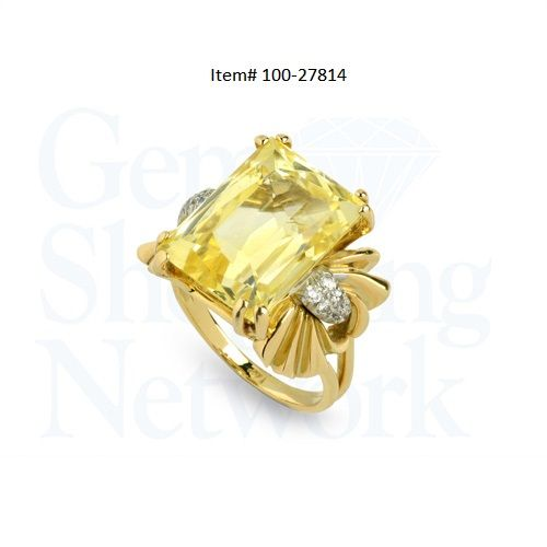 This stunning Estate ring is: 18.33 ct Yellow Natural Non-Heat Sapphire Modified Brilliant Rectangular Cut  (Approx.Wt). &  0.20 ctwt Diamond  Old European Cut (Approx.Wt). 14K 2 Tone  Gold Ring,  GIA Lab Report, Size 7.5,  Circa 1950