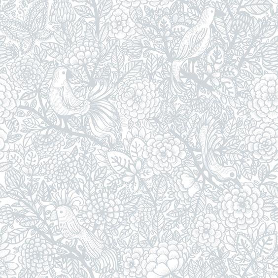 Garambola grey wallpaper by vallila ai papier peint for Jardin gris wallpaper