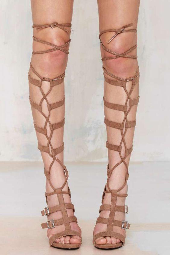 Nasty Gal Lace Me Up Knee-High Heel - Shoes | Open Toe | Heels