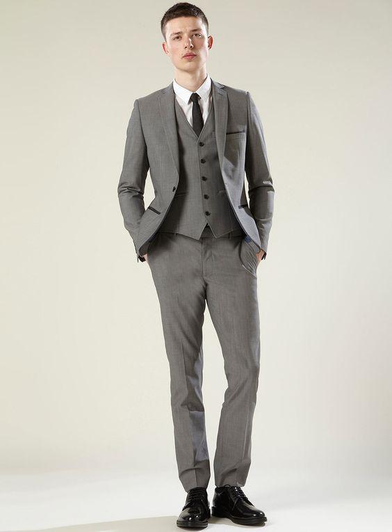 Grey Bogart Three Piece Skinny Suit | Stylez and Stuff | Pinterest